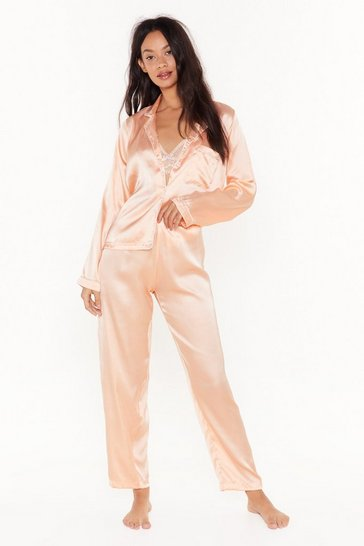 Womens Coral Let's Sleek In Satin Pajama Set