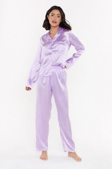Womens Lilac Let's Sleek In Satin Pajama Set