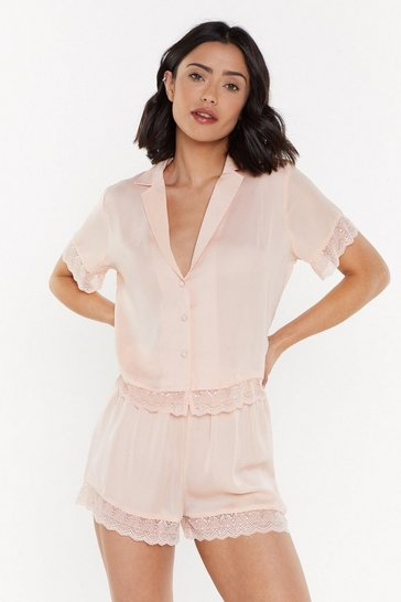 Womens Nude Invest in Rest Lace Button-Down Pajama Top and Short Set