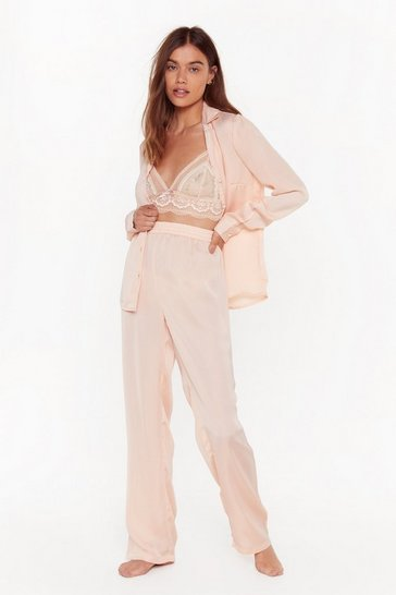 Womens Nude But First Sleep Satin Button-Down Pajama Set