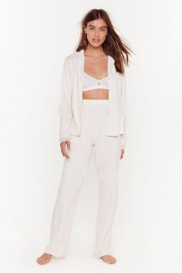 Womens Cream Invest in Rest Lace Button-Down Pajama Top and Pant Set
