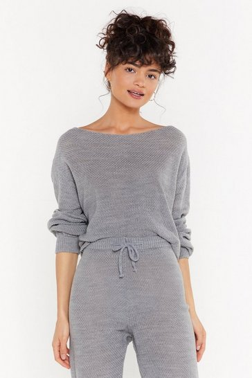 Womens Grey What the Knit Slouch Off-the-Shoulder Sweater