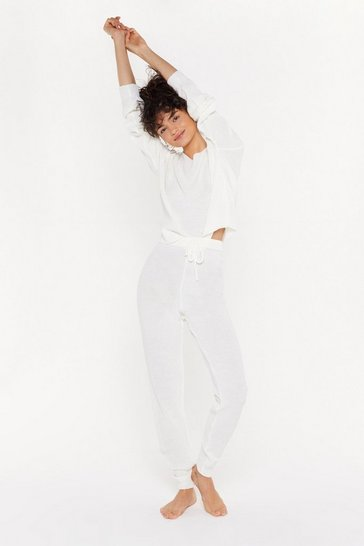 Womens Cream What the Knit Slouch High-Waisted Joggers