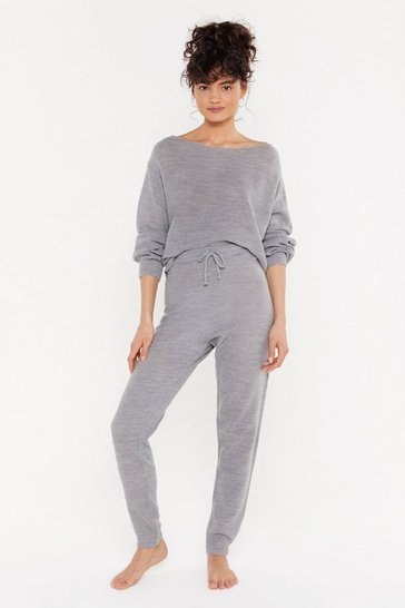 Womens Grey What the Knit Slouch High-Waisted Joggers