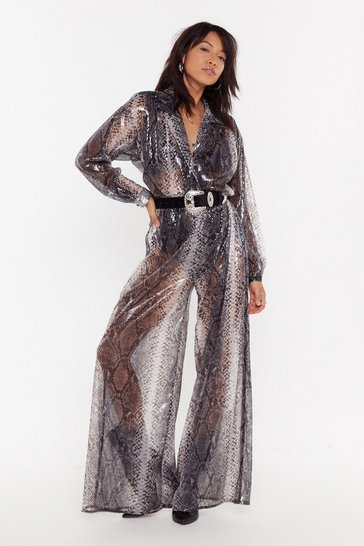 Womens Grey Sequin Snake Wide Leg Jumpsuit