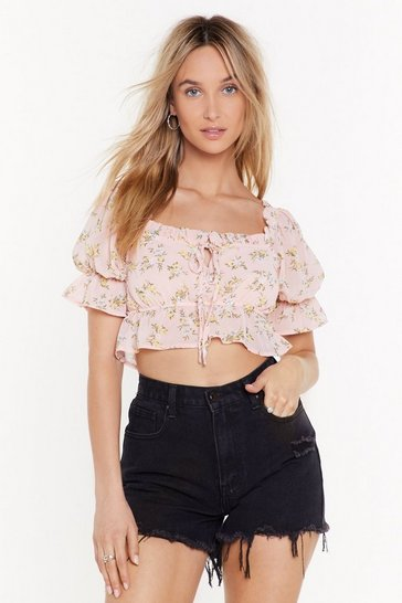 Womens Pale pink I Want It Petal Floral Square Neck Crop Top