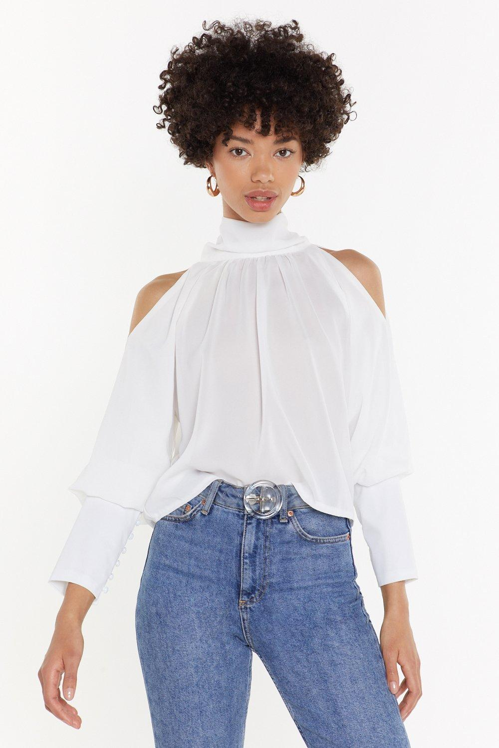 High Neck Button Up Balloon Sleeve Blouse by Nasty Gal