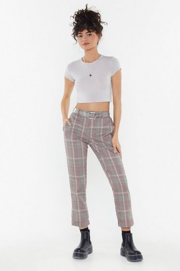 Womens Beige Checked Cigarette Trousers