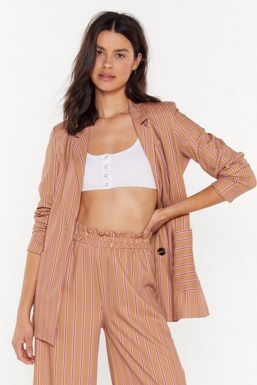 Womens Camel You're So My Stripe Belted Blazer