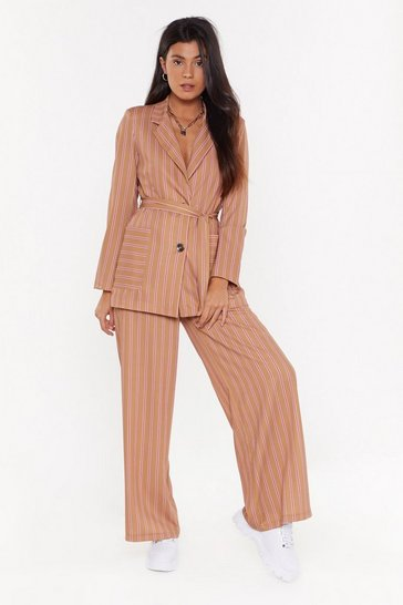 Womens Camel Stripe There High-Waisted Wide-Leg Pants