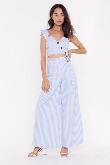 Womens Blue Stripe Ring Detail Wide Leg Trouser Co-ord