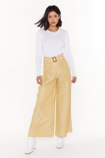 Womens Mustard Line to Move On Striped Wide-Leg Trousers