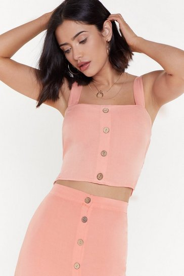Coral Button Detail Shirred Back Crop Bralet
