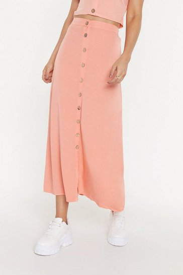 Womens Coral It's Goin' Button-Down Maxi Skirt
