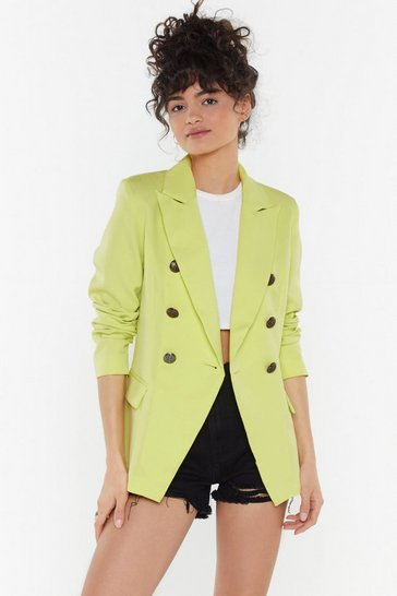 Womens Lime Button Detail Tailored Blazer