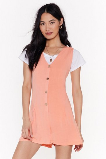 Womens Coral Throw on and Go Relaxed Button-Down Playsuit
