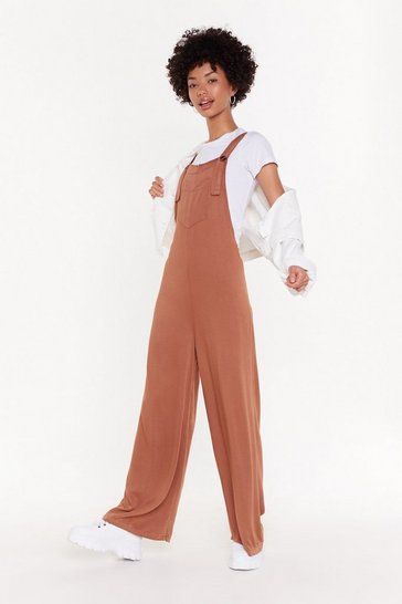 Womens Camel Waisted Dungarees