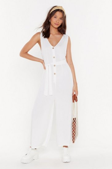Womens White Waisted Button Through Jumpsuit