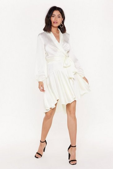 Womens Ivory Hey Girl What's Satin-Ing Wrap Dress