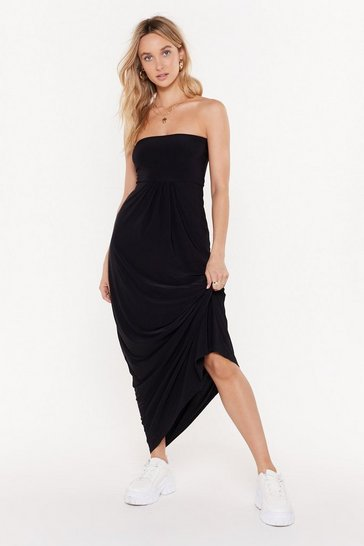 Womens Black All Day and All of the Night Strapless Maxi Dress
