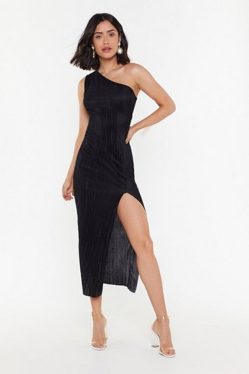 Womens Black Plissé Don't Go One Shoulder Dress
