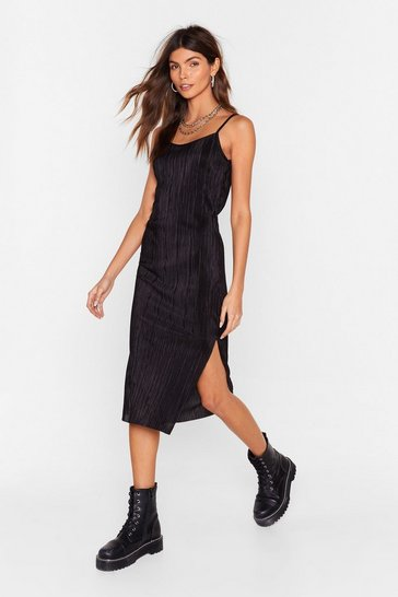 Womens Black Strappy Plisse Midi Dress