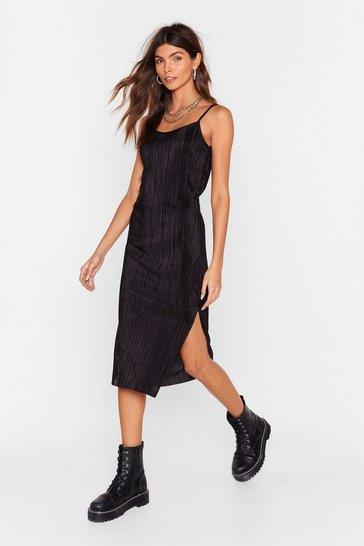 Black Don't Plisse Me Off Strappy Midi Dress