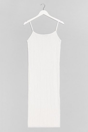 Ivory Don't Plisse Me Off Strappy Midi Dress