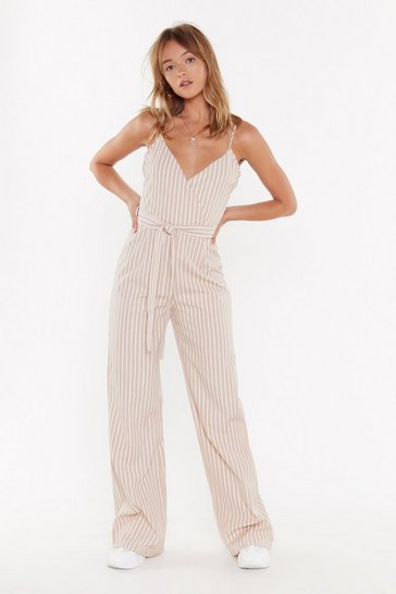Beige Straight Up Striped Belted Jumpsuit