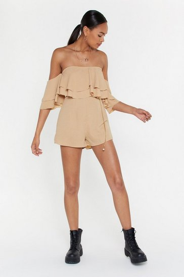 Womens Beige Frill Loving You Crinkle Romper