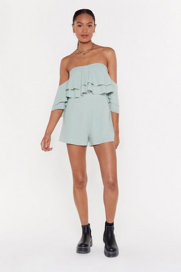 Womens Sage Frill Loving You Crinkle Romper