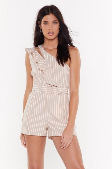 Womens Beige Can't Think Straight Ruffle Striped Romper