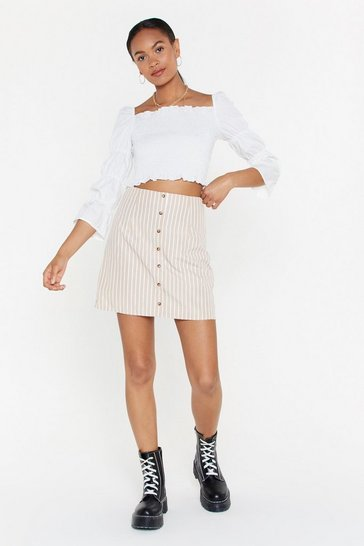 Womens Beige Stripe Button Front Skirt