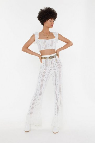 Womens Cream Crochet Pointelle Bardot Crop Top Co-Ord