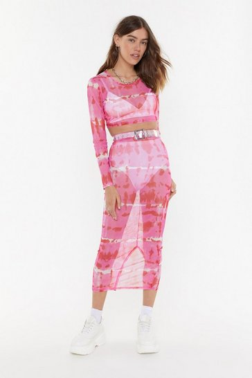Womens Hot pink Good to be Sheer Tie Dye Mesh Top and Skirt Set