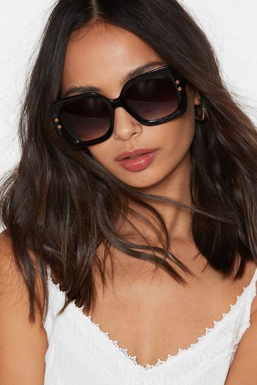 Womens Black What a Square Oversized Sunglasses