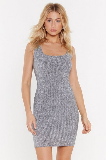 Womens Silver Broderie Metallic Ribbed Square Neck Mini Dress