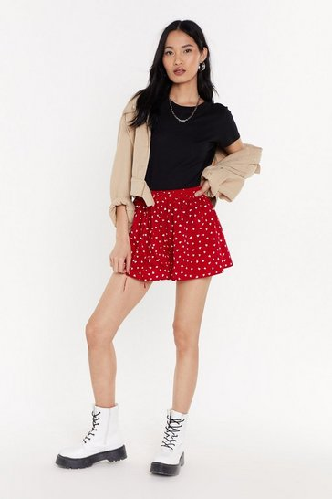 Womens Red Heart Print Flippy Shorts