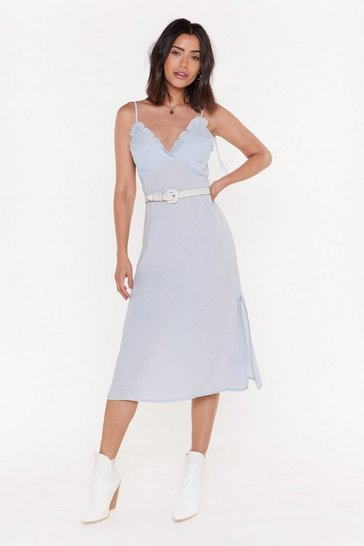 Womens Blue Time Frill Tell Ruffle Midi Dress