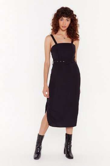 Womens Black Fair and Square Belted Midi Dress