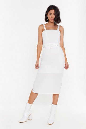 Womens White I Can't Belt It Square Midi Dress