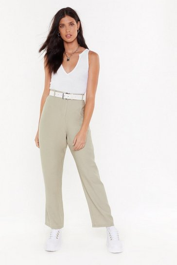 Womens Sage Tell It to Me Straight-Leg Textured Pants