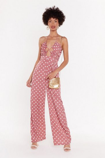 Womens Pink Girl Dot Game Polka Dot Halter Jumpsuit