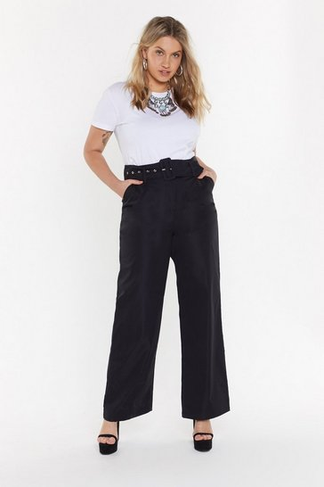 Womens Black Heart-belt Promises Wide-Leg Trousers