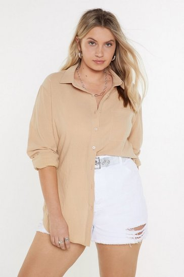 Womens Stone Hot Line-n Oversized Shirt