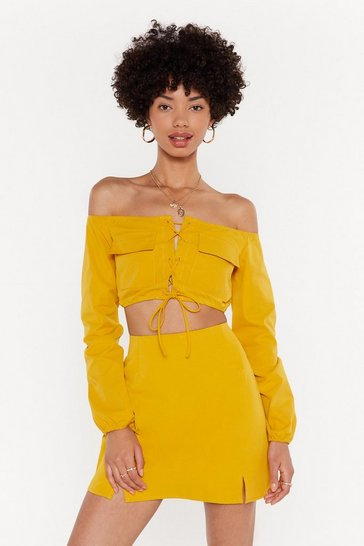 Womens Gold Pocket Detail Co-ord Crop Top