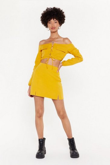 Womens Gold Hello Sunshine Slit Mini Skirt
