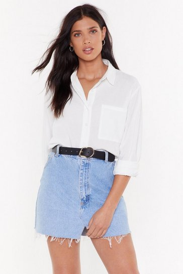 Womens White Hot Line-n Oversized Shirt