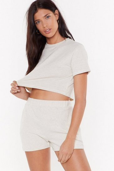Womens Oatmeal We've Got the Chill Factor High-Waisted Lounge Shorts