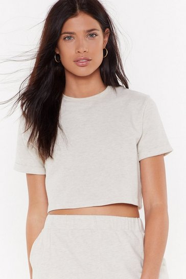 Womens Oatmeal We've Got the Chill Factor Lounge Crop Top